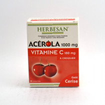 Acerola 1000 Vitamin C 180mg, Herbesan, 30 chewable tablets, Cherry flavour
