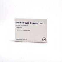 Biotine 0.5%, Vitamine  H, solution injectable I.M, 6 ampoules de 1ml, traitement de la perte des cheveux