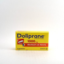 Doliprane Paracetamol 1000mg, Adults, 8 suppositories for pain and fever, Sanofi