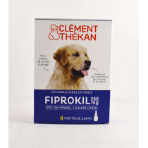 Fiprokil 268 mg For Large Dogs from 20 kg to 40 kg Flea and Tick Infestation - Clément Thékan, 4 Pipettes of 2.68 ml