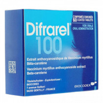 Difrarel 100 – Bilberry Extract and beta-Carotene – Pack of 60 Tablets