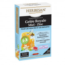 Royal Jelly + Honey + Zinc, For Children and Adults, 20 Immunity Drinkable Phials, Herbsan Taste Pomegranate Apple