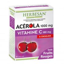Acerola 1000 Vitamin C 180 mg, Herbesan, 30 Chewable Tablets - Red fruit flavor