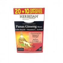 Herbesan Panax Ginseng, Gelée Royale, Viamine C, Acérola - Herbesan - 20 + 10 (offertes) Ampoules