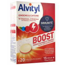 Alvityl Boost – Vitamins D and C, Ginseng and Caffeine – Pack of 20 Effervescent Tablets