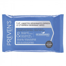 Express Deodorant Wipes - Preven's - 15 Wipes