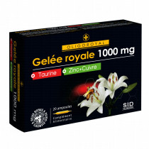 Royal Jelly - 1000mg - Oligoroyal - Taurine Zinc Copper - S.I.D. Nutrition - 20 Ampoules of 10ml