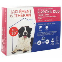 External Parasites - Fiprokil Duo - Dogs from 10 to 20 kg - Clément Thékan - 4 Pipettes of 1.34 ml