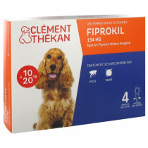 External Parasites - Fiprokil - Dogs from 10 kg to 20 kg - Clément Thékan - 4 Pipettes of 1,34 ml